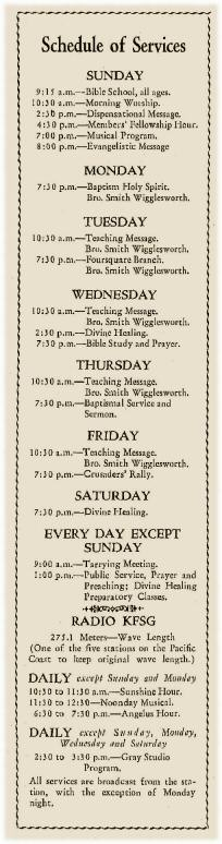 Schedule of Services at Angelus Temple